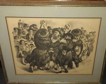 Free Shipping-Vintage-Itshak Holtz-REJOICING-Framed-Sepia Lithograph-COA Scaglione-#242