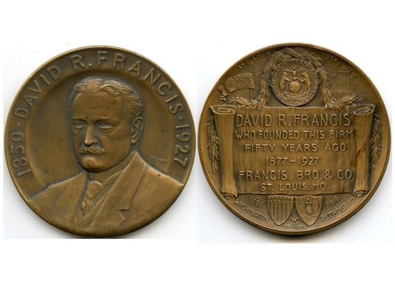 FREE SHIPPING-1850-1927-David R. Francis-Whitehead Hoag-St. Louis 1904 World's Fair-Medal-By Julio Kilenyi-Paperweight