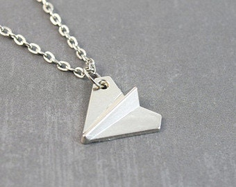 Paper Plane Origami Necklace