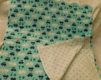 BABY FLANNEL BLANKET - 2 ply - cars, scooters, trucks