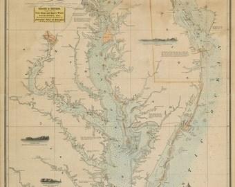 Chesapeake and Delaware Bays Nautical Chart 1852