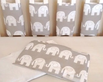 Grey elephant cot bar bumpers elephant bumpers elephant baby bedding grey bar bumpers