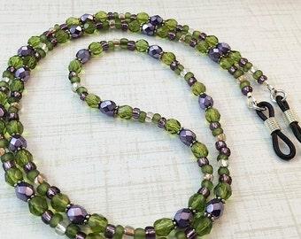 Lilac Garden Eyeglass Chain, Green Purple Eyeglass Chain, Reading Glasses Holder, Eyeglass Necklace,  Glasses Chain, Sunglasses Holder