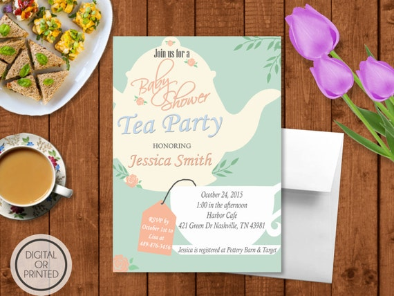 tea party baby shower invitation baby shower tea party invitation