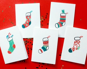 Mini Holiday Greeting Cards | Stockings (Set of 5)
