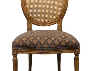 High End Louis XV Country French Carved Oval Cane Back Side Chair