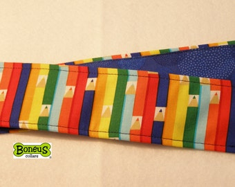 "Pencil Theme Greyhound Martingale Collar 2"" Wide Fabric Lined"