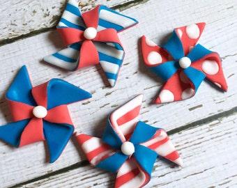 12 Fondant pinwheel toppers