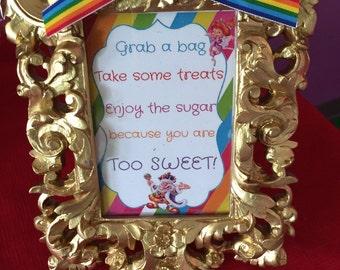 Candyland candy station sign.
