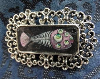 Animal jewelry, Fish brooch, Aquatic, surreal, hand painted brooch, gothic pin, nautical brooch