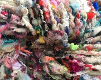 Handspun Bits Art Yarn, Multicolor SuPER BuLKy YaRN HandSpun Novelty Yarn CHuNKy Wool Fiber Textured Hand Spun Knitting Crochet Weaving GiFT