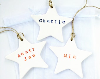 Christmas Decorations, Ceramic, Christmas Ornament, Stars, Gift Tags: MADE TO ORDER -xx-