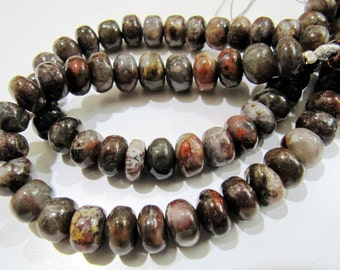 Exclusive Blood Agate Smooth Rondelle Beads , Natural Plain Jade Beads , Length 8 inch long , Size 8-9mm, Brown Agate Beads, Sold per Strand