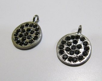 Handmade Disc Shape Round Pendant Studded with black CZ / Antique Finished / Ruthenium Oxidized Plated/ Single Loop/ Connector for Jewelry