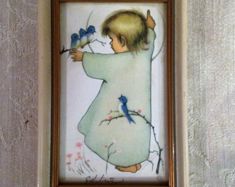 Vintage Art of Baby Angel with Birds, Small German Picture, Small Picture of  Angel Baby, Baby Room Decor