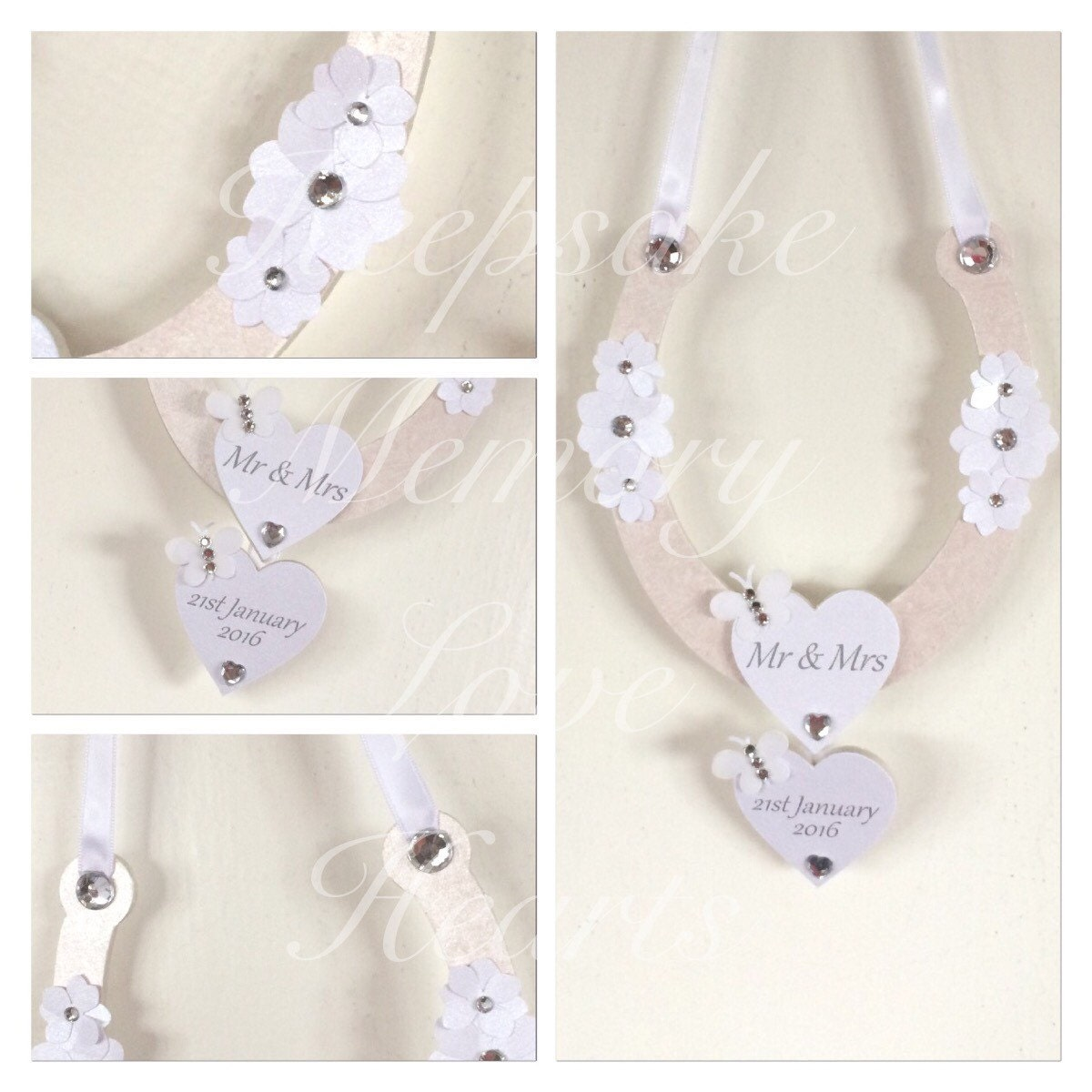 Horseshoe wedding gift personalised wooden plaque