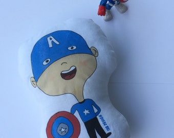 whimsical - Avengers - Super hero - personalized doll toy , Plush Toy, super hero doll, Captain America toy - Pillow doll
