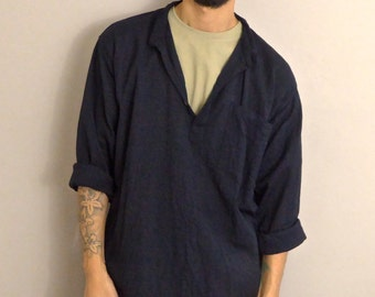 WWYF Oversized Boho Grandad Shirt in Black Crinkly Cotton