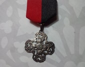 Artistic Unique Silver Iron Cross Medal with Ornate Filigree-styled Detailing on Red and Black Ribbon - Gothic - Steampunk - Fantastical
