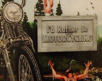 74 Id Rather Be Motercycling Vintage Belt Buckle