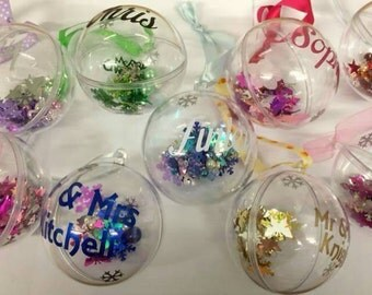 Personalised Christmas baubles