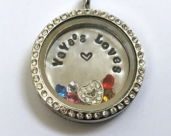 YAYA'S LOVES - Grandma's Floating Charm Locket -Memory Locket - Custom Hand Stamped Gift
