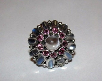 Art Deco Sterling Silver Filigree Pink Tourmaline Grey Moonstone Oval Rainbow