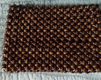 WOOD BEADED Zip CLUTCH style Purse with flap Vintage and Very Unique!
