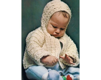 """Crochet Pattern For Baby's Hoody Sweater - PDF Pattern Instant Download - Infant """"Snowdrop"""" Crocheted Sweater Pattern With Hood"""