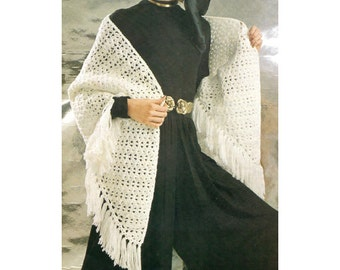 Graceful Shawl Crochet Pattern With Fringe - PDF Download Pattern - Triangular Shawl Quick & Easy Crochet Pattern