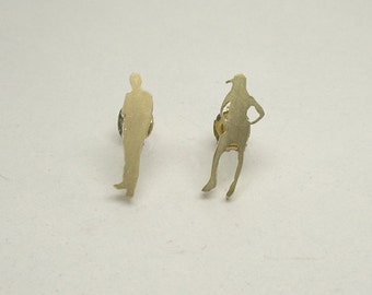 Tiny People Ear Studs - Sterling Silver Gold Plated