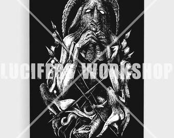 Satan Devours LARGE 16 X 20 Canvas Print, Satanic Goat, Devil, Baphomet, Gothic decor, Satanic print, vintage home, Occult print, Occult
