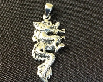 Solid Sterling Silver Dragon Pendant