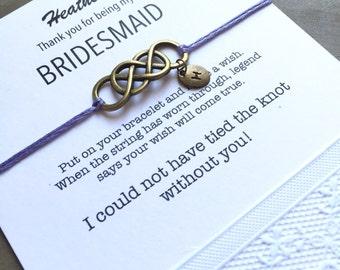 Bridesmaid thank you gift, Wedding wish bracelet, Bridesmaid box, Hand stamped bracelet, Hand stamped jewelry, Bridesmaid gift, Bronze B5