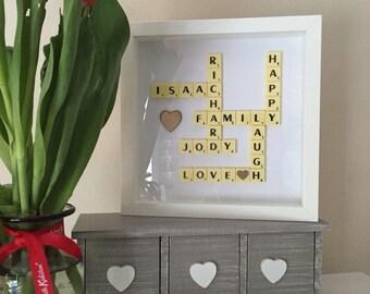 Scrabble frame  scrabble wall Art Picture box Frame