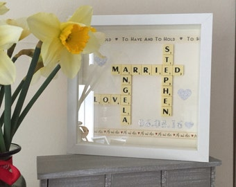 Scrabble Art Picture Frame Present Gift Idea