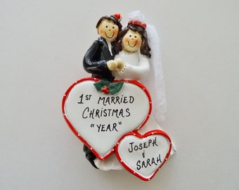 First Married Christmas Ornament-Our First Christmas As Mr. & Mrs.-Wedding Couple Ornament-Personalized Ornament for the Bride and Groom