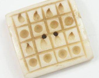 Carved Square Bone Button