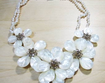 Mother of Pearl and Crystal Flower Necklace, Collar Necklace