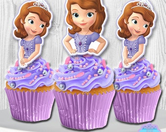 Sofia the First Cupcake Toppers, Sofia the First Cupcake Picks, Cake Toppers, PRINTABLE DIGITAL FILE, You Print