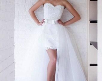 Bridal Wedding Overskirt Bridal Overskirt  Tulle Wedding Overskirt Detachable Tulle Skirt Maxi Tulle Skirt Tulle Wedding Skirt With a Train