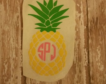 Monogram decal,Pineapple monogram decal
