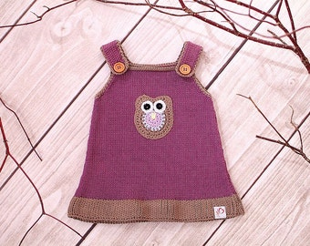 Baby dress knitting dress OWL