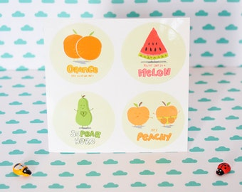 Cute Fruity Pun - watermelon - orange - pear - orange - 4 vinyl Stickers