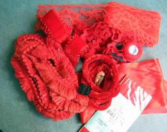 Vintage Lot Xmas Red Craft Lace Rick Rack Ribbon Thread Velvet Ribbon Bias Tape Fringe Christmas