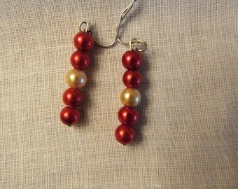 Long Red and Gold Earrings