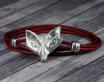 Fox Leather Bracelet - Fox - Leather Wrap Bracelet - Animal Leather Bracelet - Mens Leather Bracelet - Womens Leather Bracelet - Wolf - Red