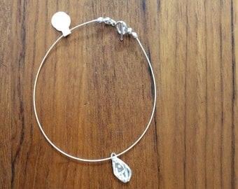Sterling silver cable wire ankle bracelet