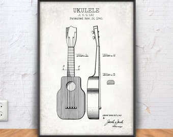 UKULELE patent print, ukulele printable, music poster, ukulele blueprint, music decor, instrument prints, country music, bluegrass,  #1163