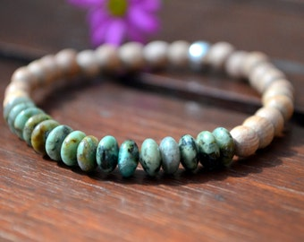 Rosewood and African turquoise beaded yoga bracelet